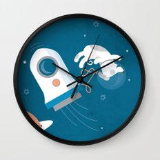 Darwin the Diddy Dog Diving into Deep Space Wall Clock