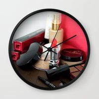 make up Wall Clocks featuring Make-Up by Tanya Thomas