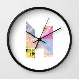Collaged Tangram Alphabet - H Wall Clock
