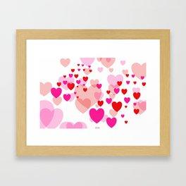 Flying Hearts pink red color Framed Art Print