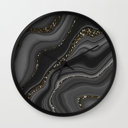 Liquid Black Gray White Agate Glitter Dream #2 #gem #decor #art #society6  Wall Clock