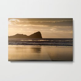 Rhossili beach and Worms Head Metal Print