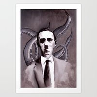 cthulu Art Prints featuring Shuddering At The Nameless Things by Zombie Rust