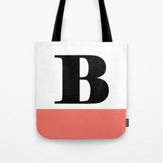 Monogram Letter B-Pantone-Peach Echo Tote Bag