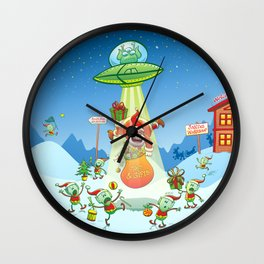 Santa Claus Abducted by a UFO just before Christmas Wall Clock