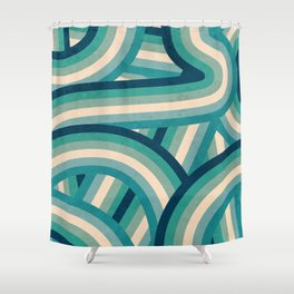 Teal Vintage Faded 70's Style Rainbow Stripes Shower Curtain