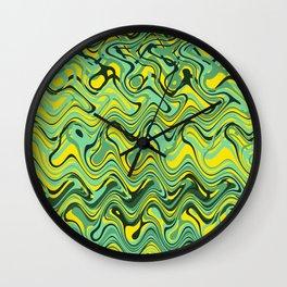 Abstract Wave yellow green Wall Clock