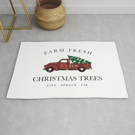Christmas Tree Farm Vintage Truck Rug
