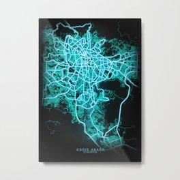 Addis Ababa, Ethiopia, Blue, White, Neon, Glow, City, Map Metal Print