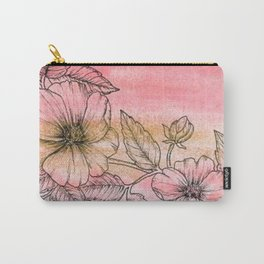 Wild Rose Illustration with watercolor background Carry-All Pouch