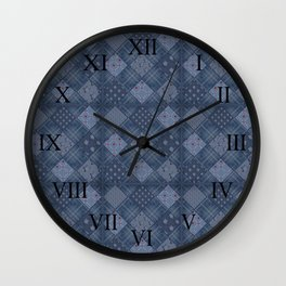 Seamless jeans denim patchwork pattern background Wall Clock
