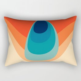 Retro 80s 70s Blue and Orange Mid-Century Minimalist Abstract Art Water Drop Rectangular Pillow