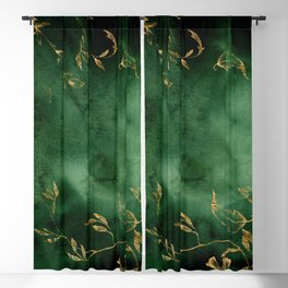 Winter Gold Flowers On Emerald Marble Texture Blackout Curtain