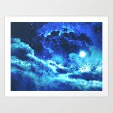 Blue on Moon Art Print