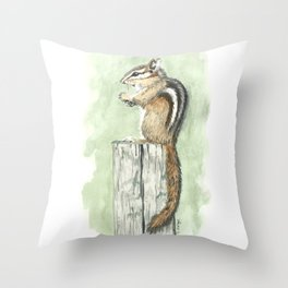 Chipmunk on a Fence Post - Watercolor Throw Pillow