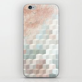 Distressed Cube Pattern - Nude, turquoise and seashell iPhone Skin