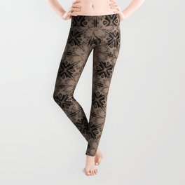 Warm Taupe Floral Geometric Leggings