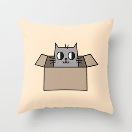 Cat in a Box Illustration Throw Pillow