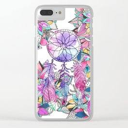 Colorful magenta teal watercolor dream catcher floral Clear iPhone Case
