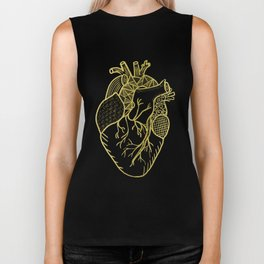 Designer Heart Gold Biker Tank