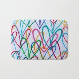 Multicoloured Love Hearts Graffiti Repeat Pattern Bath Mat