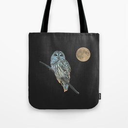 Owl, See the Moon (sq Barred Owl) Tote Bag