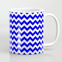 chevron Mugs featuring Chevron (Blue/White) by 10813 Apparel