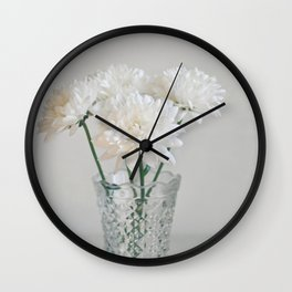 Creamy white flowers in clear vase. Wall Clock