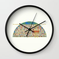 library Wall Clocks featuring Dream Library by Jet McLeod