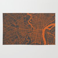 philadelphia Area & Throw Rugs featuring Philadelphia 2 by Map Map Maps