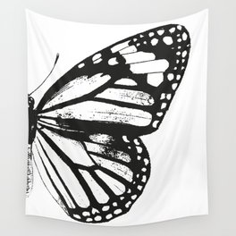Monarch Butterfly | Right Butterfly Wing | Vintage Butterflies | Black and White | Wall Tapestry