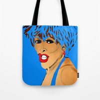 tina crespo Tote Bags featuring Tina Simply The Best by Saundra Myles