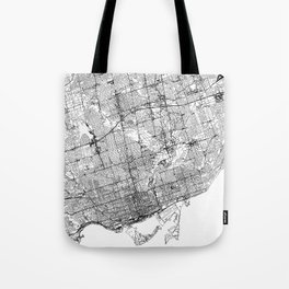 Toronto White Map Tote Bag