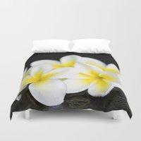 singapore Duvet Covers featuring Plumeria obtusa Singapore White by Sharon Mau