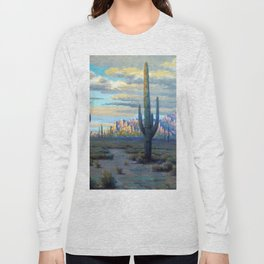 Superstition Mountains and Desert Landscape by John Marshall Gamble Long Sleeve T-shirt