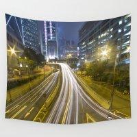 hong kong Wall Tapestries featuring Hong Kong-Street View by Parrish