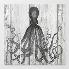 Octopus on slatted wood fence Canvas Print