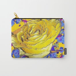 GOLDEN YELLOW ART & YELLOW ROSE BLUE MORNING GLORY FLOWERS Carry-All Pouch