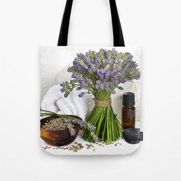 lavender spa (fresh lavender flowers, towel, essential oil, pebbles, Herbal massage balls) over whit Tote Bag