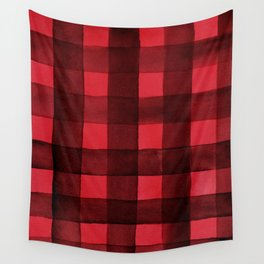 Buffalo Plaid Watercolor in Red Wall Tapestry