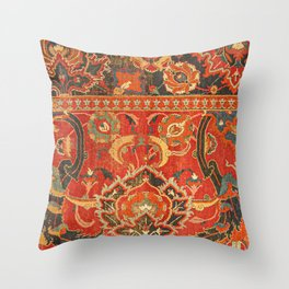 Red Arabic Rug I // 17th Century Colorful Firey Red Light Teal Sapphire Navy Blue Ornate Pattern Throw Pillow
