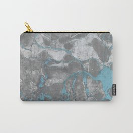 Blue and Gray Marble Carry-All Pouch