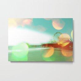 Santa Monica Pier Green Orange Metal Print
