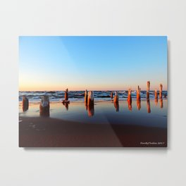 Reflected Remains on the Beach Metal Print