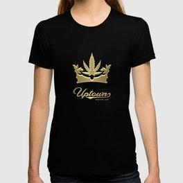 Uptown Growlab Gold Cannabis Crown and Script Wordmark T-shirt