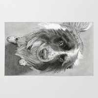 border collie Area & Throw Rugs featuring Border Collie by Sarahphim Art