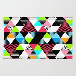 Vintage Retro 1980s 80s New Wave Neon Jams Triangular Pattern Rug