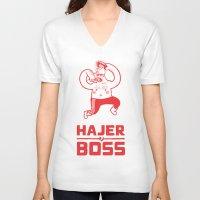 boss V-neck T-shirts featuring Hajer Boss by Krzysztof Kaluszka