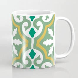 Moroccan Mosaic Tile Pattern Green Yellow Coffee Mug