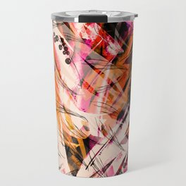 Watercolor vintage seamless background, paint splash, texture of leaves, grasses, plants, cranberry, currants. Abstract background, red, black, white paint splash. Fashionable pattern Travel Mug